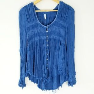 Free People blue long sleeve button down blouse